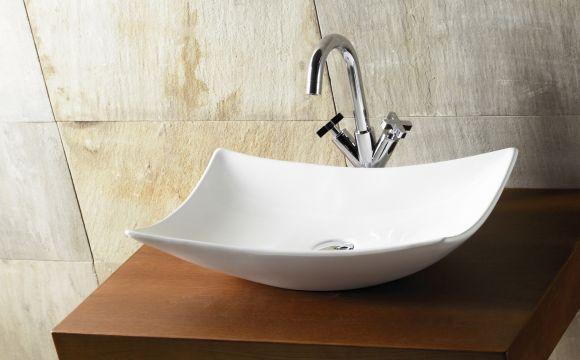 Lavabo lavamanos porcelana blanco bathco sobre encimera magdalena - Lavamanos sobre encimera ...