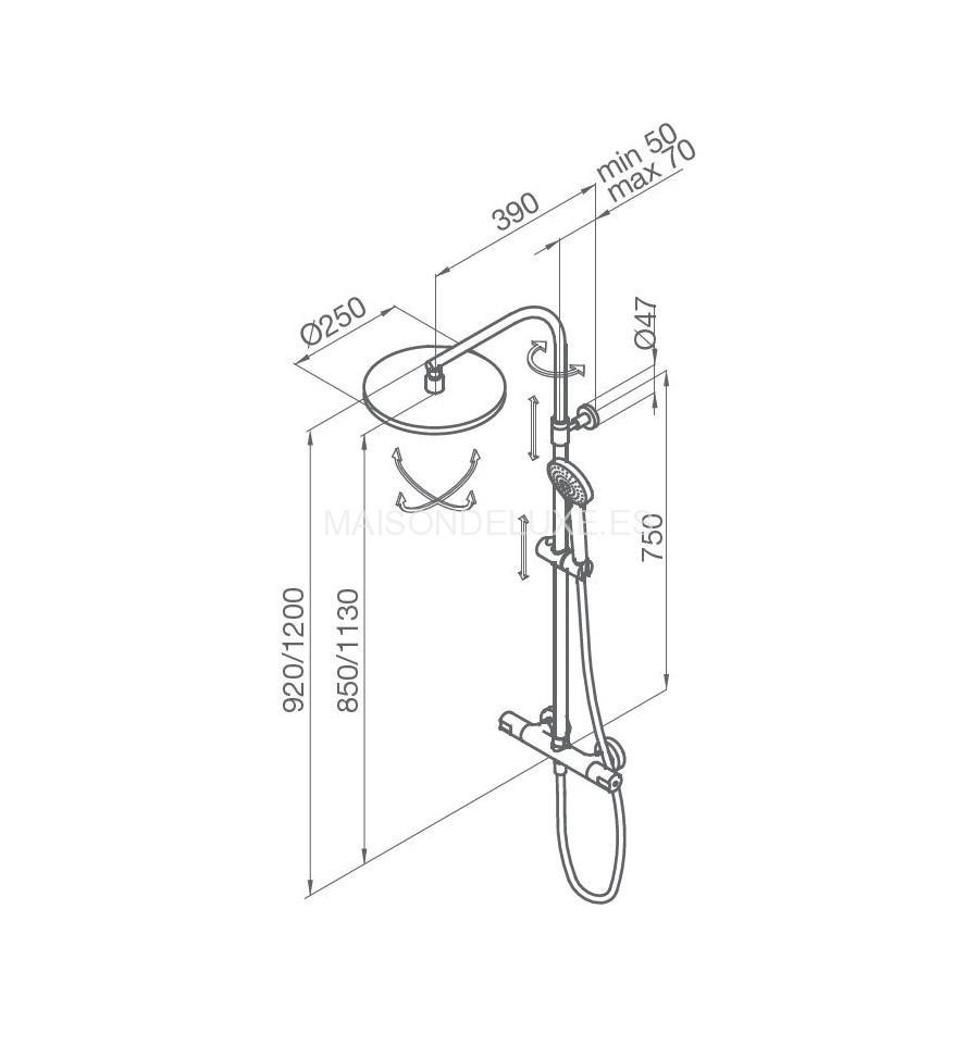 Grb tender columna telesc pica termost tica ducha rociador for Columna termostatica