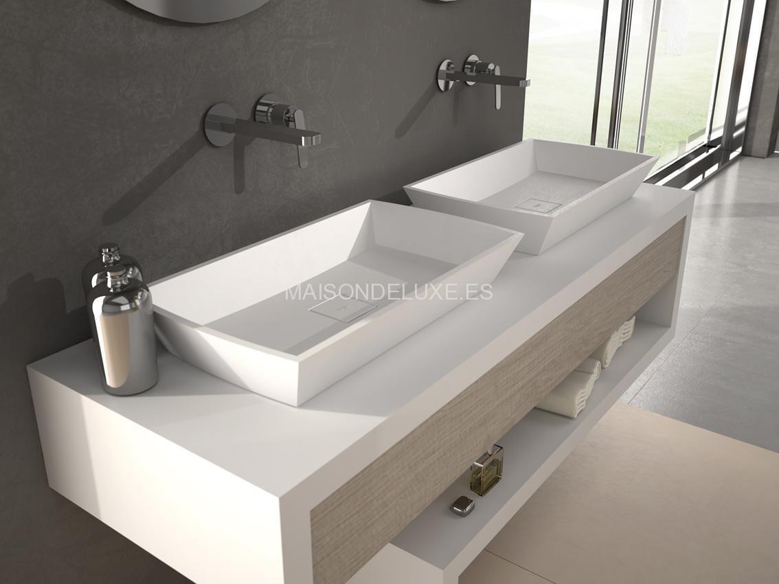 Lavabo modar distribuidor de paneles decorativos panelpiedra for Lavabo sobre encimera rectangular