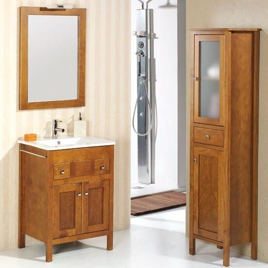 Mueble de ba o 2 puertas de madera y 2 cajones estepona for Muebles de bano de madera rusticos