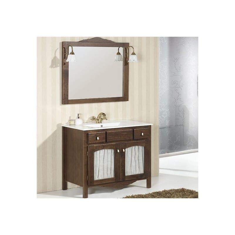 Mueble de ba o de 2 puertas en cristal con visillo y 2 cajones ronda - Muebles rusticos bano ...